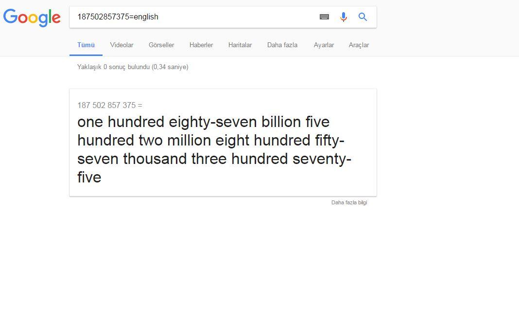 google ın bilinmeyen özellikleri
