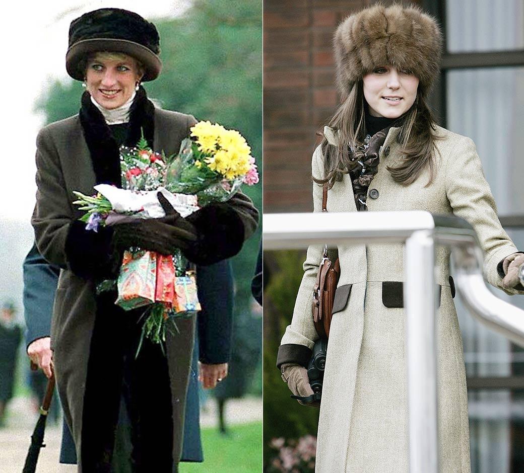 kürk giyen Lady Diana ve Kate Middleton