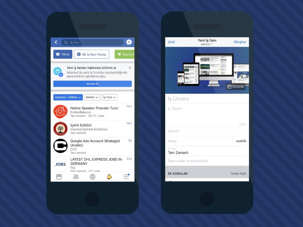 facebook jobs ile iş ilanı verme ve iş arama özellikleri