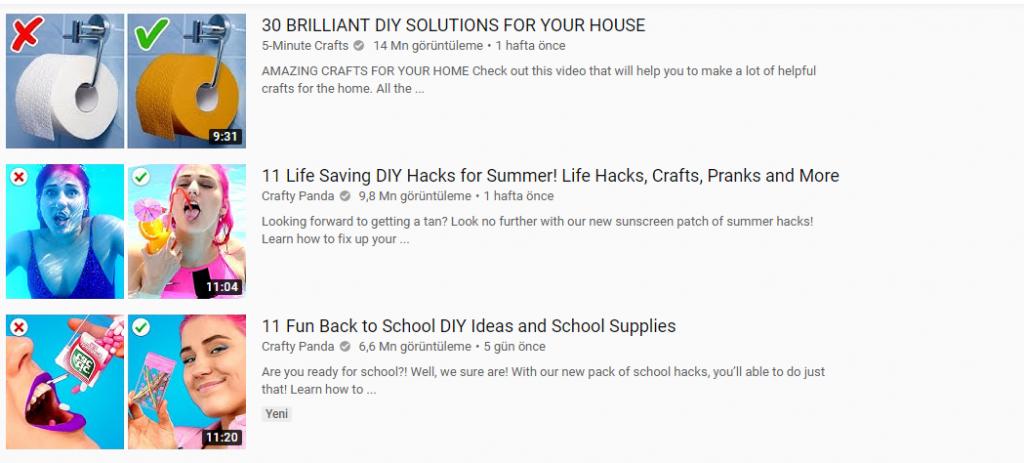 do it yourself- kendin yap vieoları youtube'da görüntüleme sayısını artırır