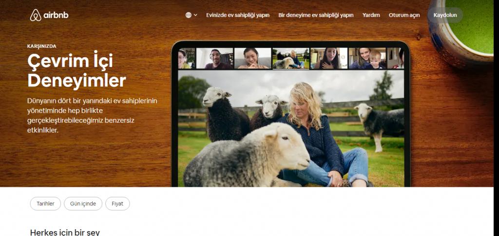 airbnb salgın ile gelen dijitalleşme ile çevrimiçi deneyimler sunuyor.