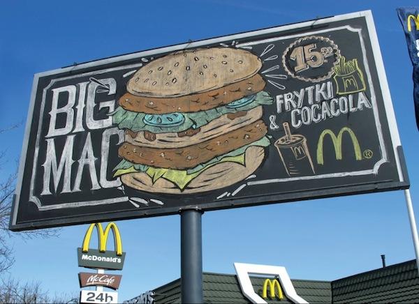 McDonald's tebeşir kullanılarak tasarlanan bilboard reklamı