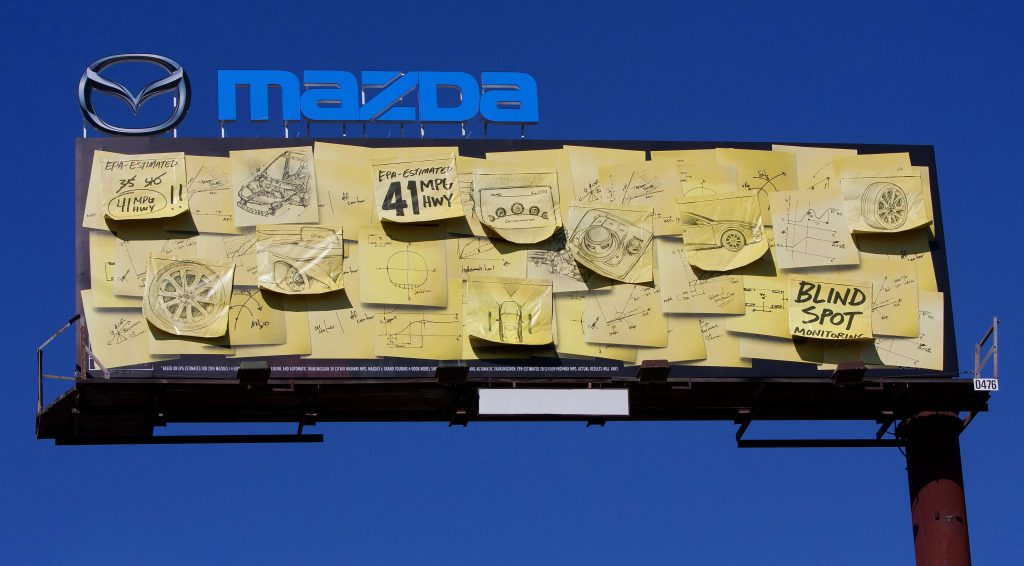 mazda sticky notes bilboard