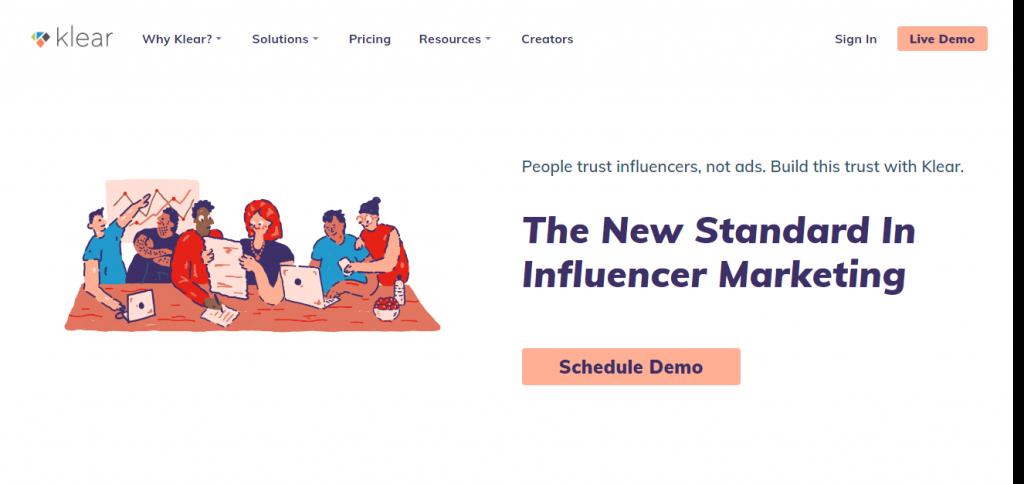 klear influencer pazarlama için bir platform