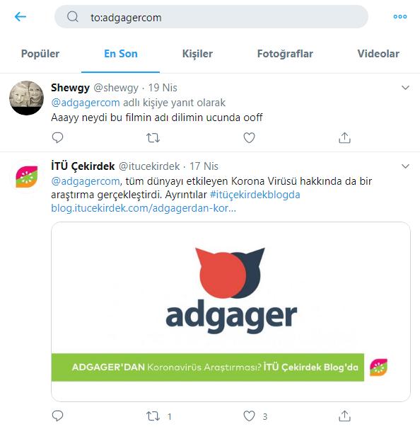 Bir Kullanıcıya Verilen Yanıtlardan Bir Tweeti Bulma - Twitter gelişmiş Arama