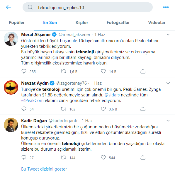 Yanıtlanma Sayısına Göre Tweetleri Bulma - Twitter Gelişmiş Arama